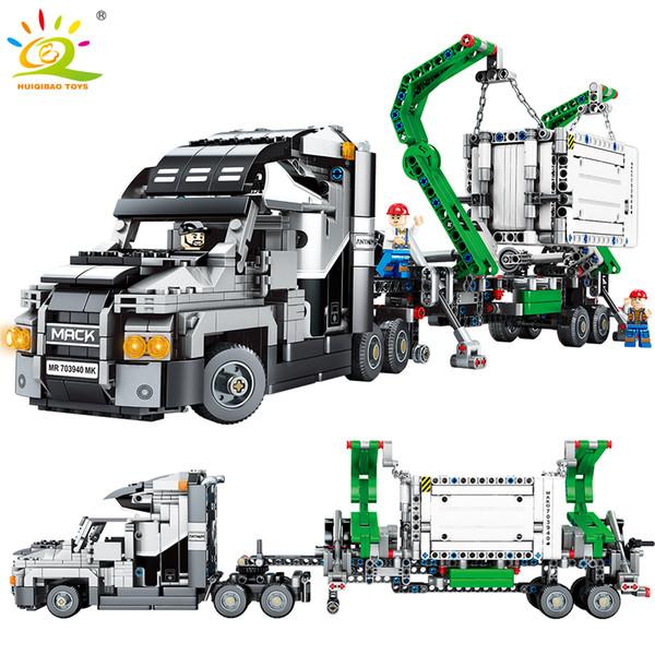 1202pcs Conteneur Véhicules Véhicules De Voiture Blocs de Construction Compatible Technic Voiture Bricolage Briques Jouets Éducatifs Pour Enfants Y190606