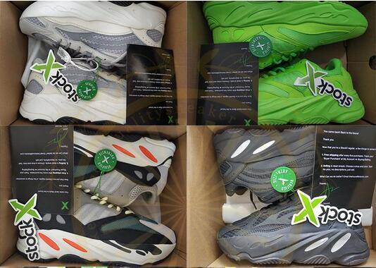 Stok X Etiketi 700 Statik Vanta Analog V2 Koşu Ayakkabıları Kanye West 3 M Yansıtıcı Siyah Beyaz Leylak Tasarımcı Spor Sneakers Eğitmenler Boyutu 36-46