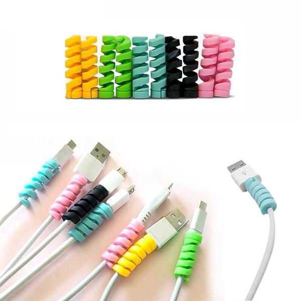 Spiral Cable protecteur Data Line Silicone enrouleur de canette de protection pour téléphone Android USB de charge des écouteurs couverture
