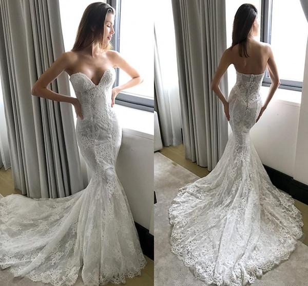 Сексуальные кружева русалка мягкие свадебные платья милая свадебное платье без рукавов невесты платья часовня поезд сексуальные платья с открытой спиной обручальные