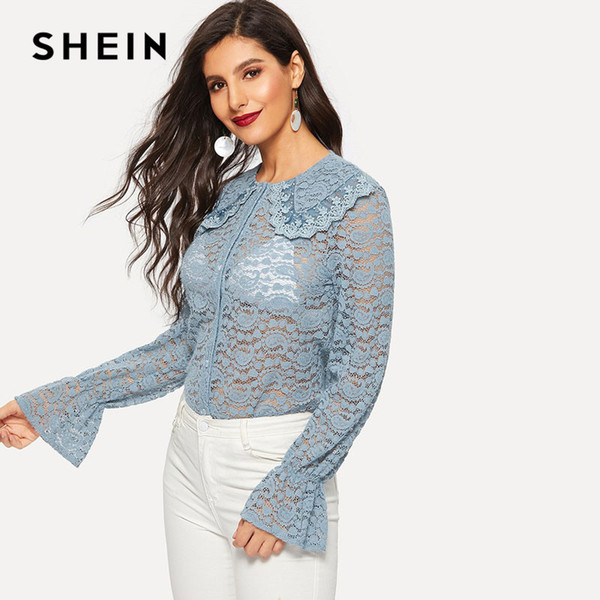 daf43e0c47be74 SHEIN Blue Flounce Sleeve Sheer Lace Blouse Without Bra Mesh Tops Womens  Sexy Placket Blouses See
