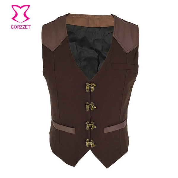 Men's Victorian Gothic Formal Aristocrat Punk V-neck Vest Waistcoat Brown Single Ring Buckle Breasted Banquet Suit Vest Jacket