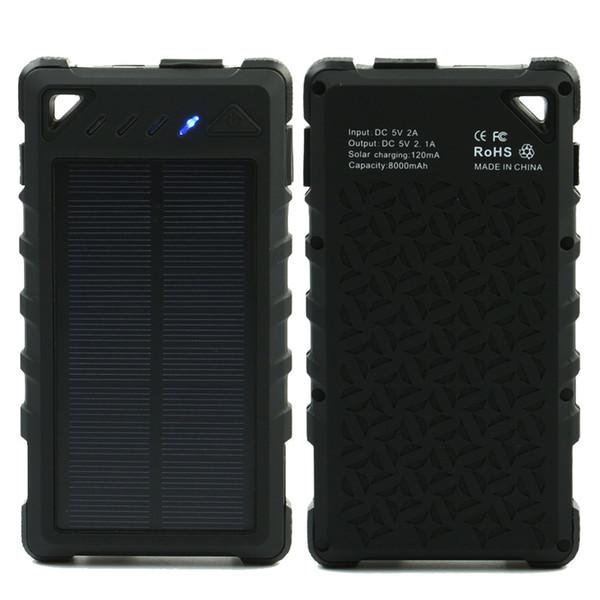Banco de energia Solar 8000 mAh Portátil À Prova D 'Água Carregador Solar powerbank 8000 mah Carregador de Banco de Potência Externa Dual USB Bateria