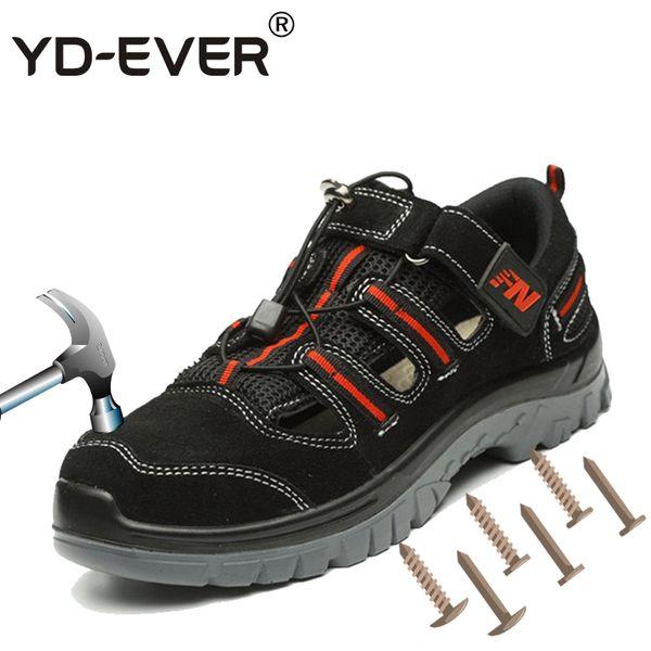 YD-EVER plus Größe Männer lässig Stahlkappe Arbeitssicherheit Sommerschuhe weichen Rindsleder Sandalen pannensichere Plattform securit