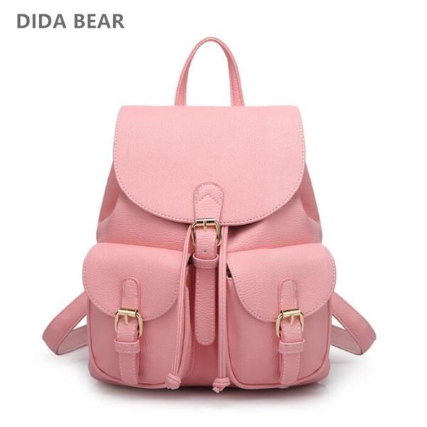 Women Leather Backpack Black Bolsas Mochila Feminina Large Girl Schoolbag Travel Bag School Backpacks Candy Color Pink