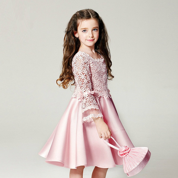 Fashion Pink Lace Satin Flower Girl Dresses for Wedding Children Princess Long Sleeved First Communion Birthday Party Dress