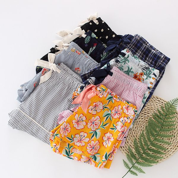 Pantalon de sommeil pour femmes coton d'été mince pantalon de pyjama dames pantalons de sommeil lâches shorts treillis chaud
