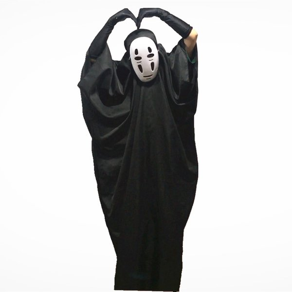 No Face Male Cosplay Masks Gloves Halloween Party Costumes Kids Adults Spirited Away Unisex Stage Wear Role Play Trendy Clothing