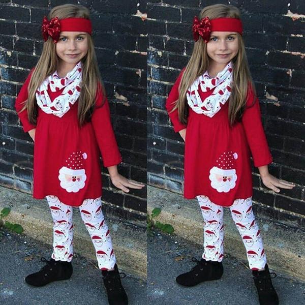 good quality 3PCS Baby clothes set Christmas Clothing Children Kids Girls Cartoon Santa Dress+Pants+Headbands Set roupas menina