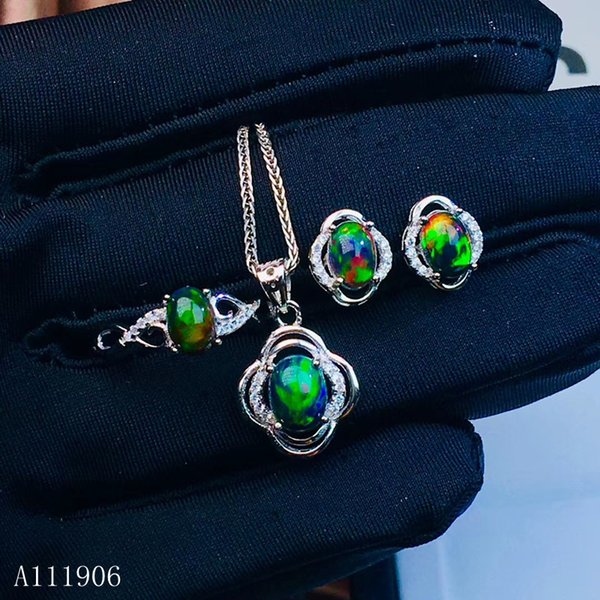 kjjeaxcmy boutique jewelry 925 sterling silver inlaid natural gemstone black opal female ring necklace pendant earrings set supp