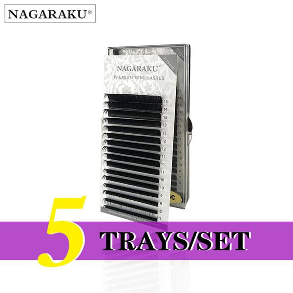 Nagaraku 5 Trays/set J B C D Curl Length 7-15mm Mixed In One Tray Eyelash Extensions Individual Faux Mink Eyelash Lashes J190706