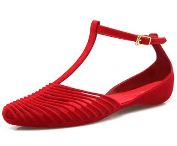 Kadın Yaz plaj sandalet Yumuşak Flats Roma toka Klasik Seksi Hollow gece kulübü ladiesLace kaymaz Sivri jöle Tatil sandalet