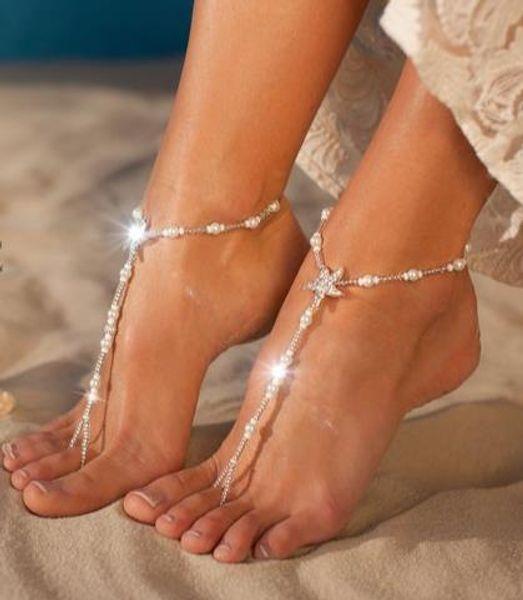 Summer Starfish Pearls Nupcial Pies Tobillera Pulsera Cadena Playa Vacaciones Sexy Pierna Cadena Mujer Tobillera Pie Joyas Cadena Accesorios nupciales