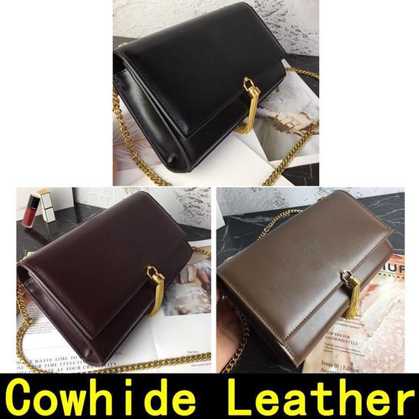 Saint Original Cowhide Leather Gold Chain Golden Lock Pendant Genuine Leather High Quality Luxury Designer Handbags Shoulder Bags 60012