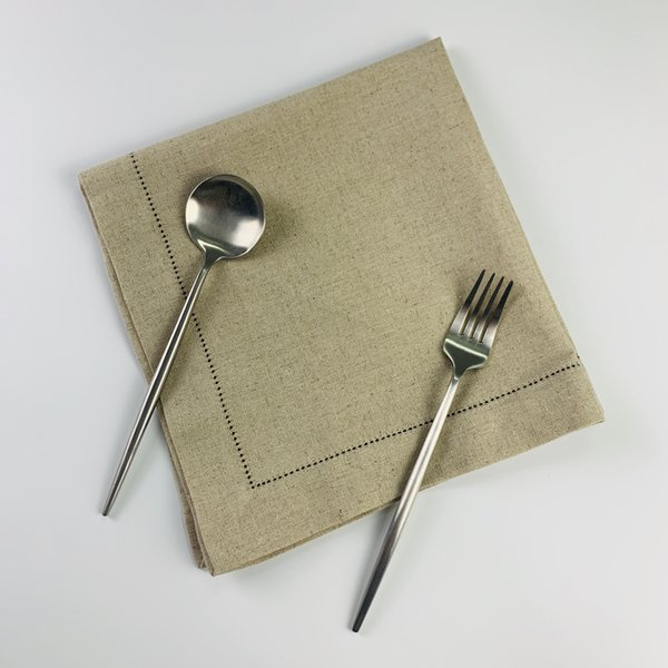 top popular Set of 12 Fashion Napkins Color oatmeal Hemstitched Linen Table Napkins Dinner Napkins For dinner party 19.5x19.5-inch 2021