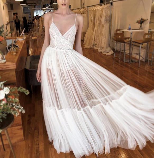 Vintage Great Gatsby Beach Vestidos de novia 2020 Boho See Through Correas de espagueti Encaje de tul Plisados con espalda abierta Vestidos de novia