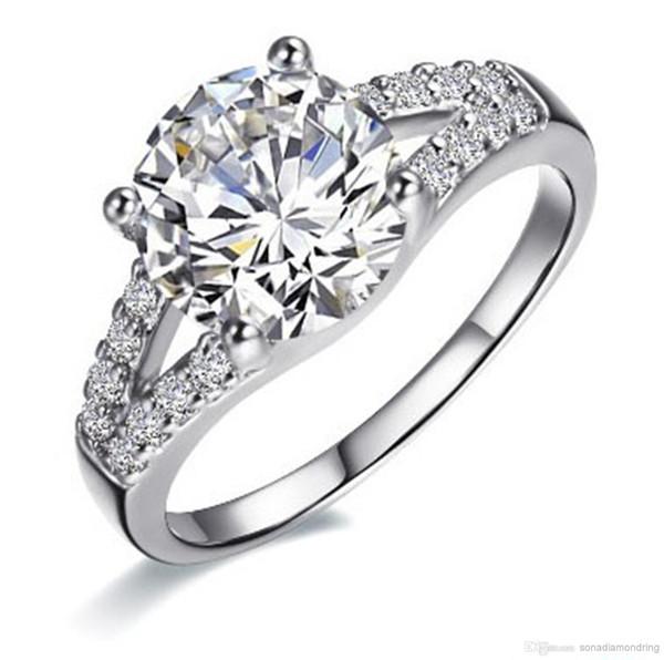 Vente en gros - Bague SONC de diamants synthétiques 2Ct pour les femmes Bague de fiançailles Bague de fiançailles en argent plaqué or blanc