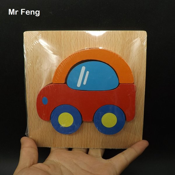Niños Niños Dibujos animados de madera Vehículo Transporte Tráfico Coches Puzzle Juguetes Enseñanza Educación prop (Número de modelo B158)