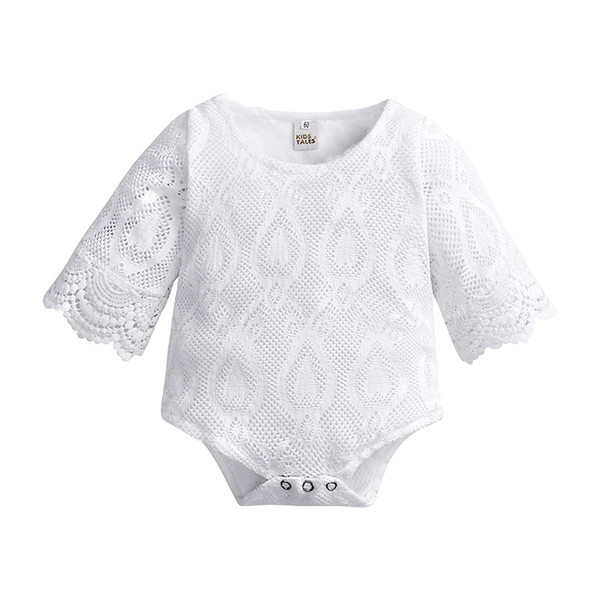 Everweekend Infant Kids Ins Hot Sell Lace White Color Hollow Out Rompers Batwing Sleeve Summer Weadding Party Princess Girls Clothing