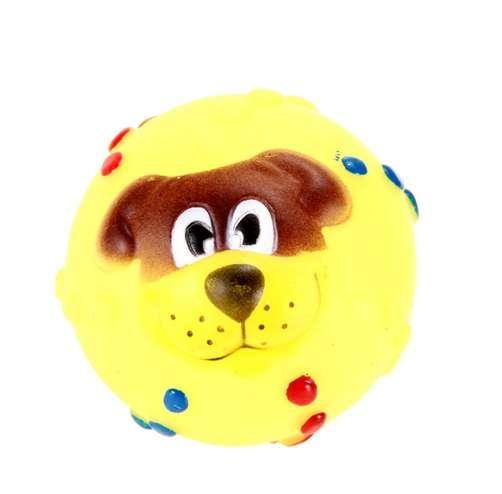 Drôle Pet Dog Ball Toy Chien Visage Son Sound Squeaky Jouets En Caoutchouc Doux À Mâcher Son Balle Jouets