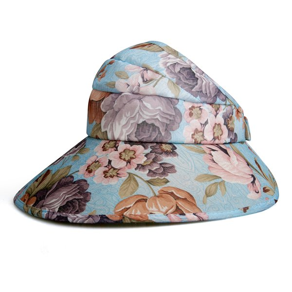 2019 New Summer Folding Flower Hats Wide Brim Hats Printing Floral Women Large Floppy Hats