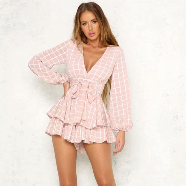Women Casual Playsuit Female Long Sleeve V-neck Ruffle Beach Short Jumpsuit for Ladies Women Elegant Plaid Playsuit Romper Pink