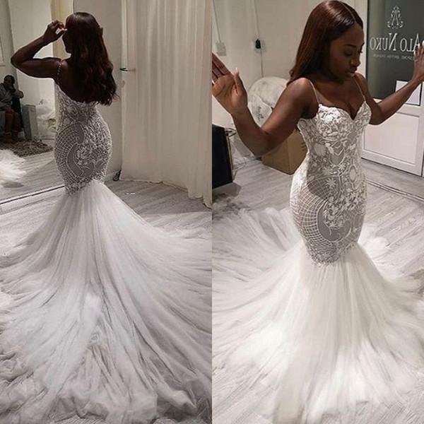 2020 moderno sul africano sereia vestido de noiva vestido de noiva sexy v pescoço spaghetti strap lace padrão de tule longo dress de noiva