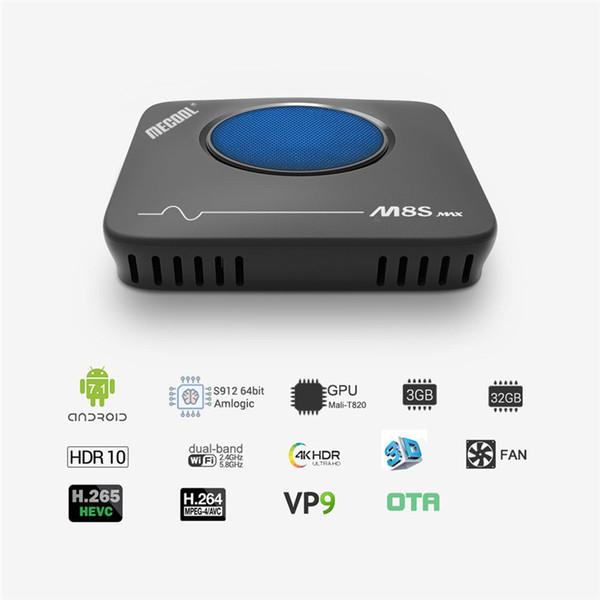 MECOOL M8S Max Amlogic S912 3 GB 32 GB Android 7.1 TV BOX 4K Streaming Media Player Smart TV BOX con ventola di raffreddamento