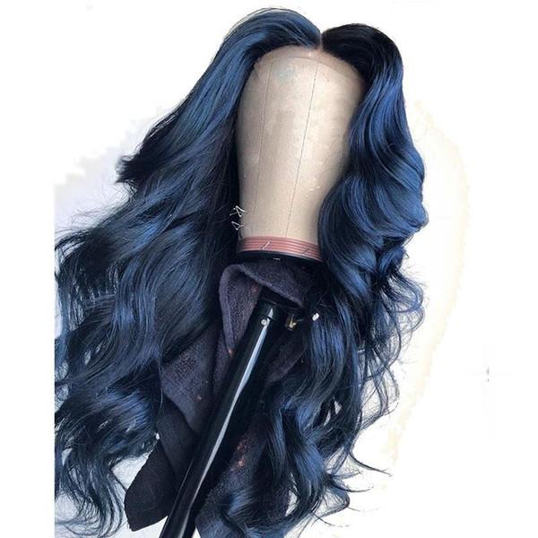 13X6 Partie Profonde Bleue De Couleur Avant de Lacet Perruques De Cheveux Humains Lâche Vague Pleine Dentelle Frontale Pour Les Femmes Noires Préplucké Peut Faire 360 Bun