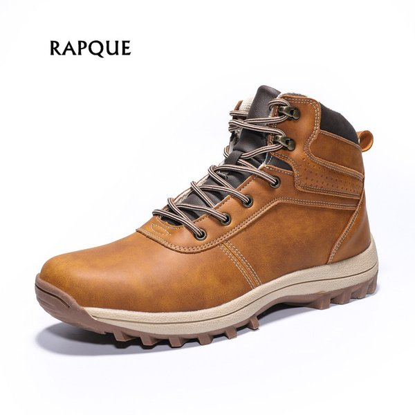 Men Outdoor city hiker shoes non-slip big size mens shoes ankle boots men safety leather adult male footwear Winter 39-48