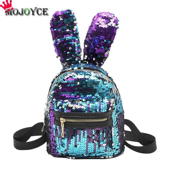 MOJOYCE Mini Shining Sequins Backpack Cute Rabbit Ears Shoulder Bags for Baby Children Girls Lovely Bling Sequins Small Bag Y18110107