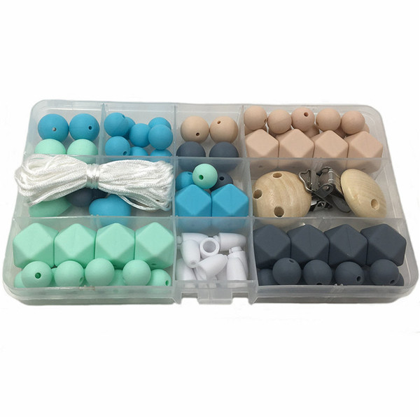 Baby Teether Unfinished Silicone Round/Hex Beads Set Chewable Diy Jewelry Teething Necklace Bracelets Made Teether
