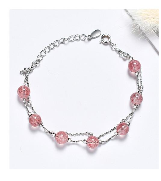 Bracelet de perles de cristal de luxe léger Double couche Gouache Dame Bracelet de perles de fraise naturelle Bracelet plaqué or et argent