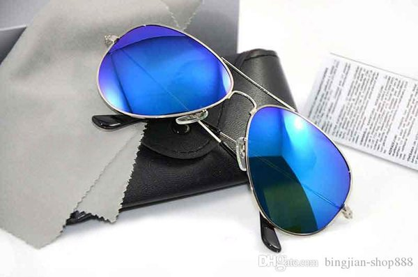10PCS Brand New Mirror Glass Lens Sunglasses Brand sunglasses pilot mens Sun glasses Brand Designer Womans glasses with Original cases boxs