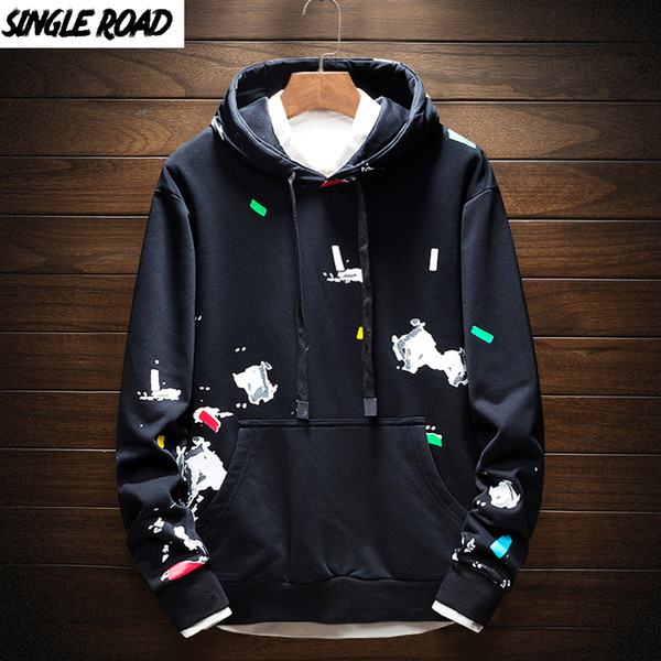 SingleRoad sudaderas con capucha de los hombres de impresión 2019 informal suéter con capucha de Calle Harajuku modas Hip Hop con capucha tapas de los hombres