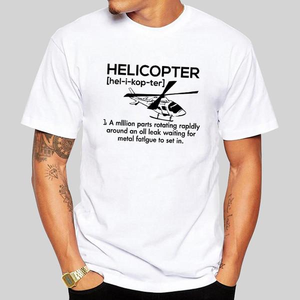 Inteligente Projeto Helicopter T-shirt gráfico da luva curta branca 2019 de Moda de algodão do pescoço de grupo masculino Camiseta