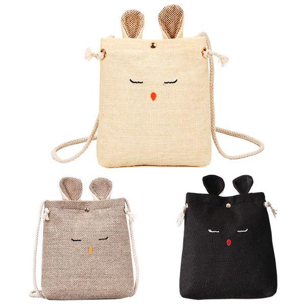 Cute Ears Canvas Money Wallet Women Mini Crossbody Messenger Bag Sweet Lady Girls Casual Shoulder Bag Gifts Popular good quality