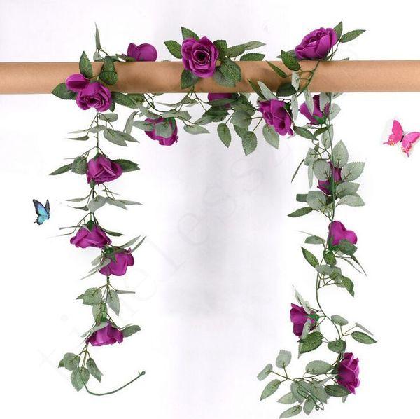 2.2 m Artificielle Fleur De Vigne Faux Soie Rose Lierre Fleur pour la Décoration De Mariage Artificielle Vignes Suspendu Guirlande Décor À La Maison