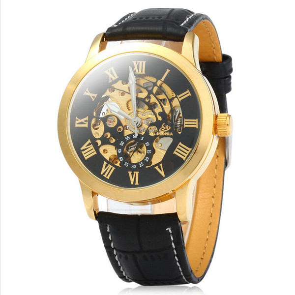 Mens Watch Automatic Mechanical Watches Shenhua Brand Fashion Gold Roman Numerals Watch Business Leather Strap Clock 332 J190706