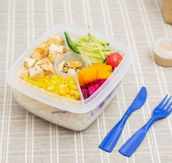 Boîte à bento en plastique Rangement pour la préparation des repas Boîte à lunch pour le transport des aliments Voyage Vaisselle Conteneur pour le stockage des aliments Boîte à lunch avec fourchette LJJK 1801