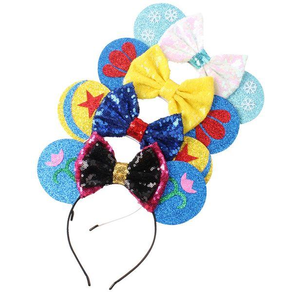 Snowflake Flower Printing Hair Band Cartoon Child Bow Headband Girl Bow Hair Hoop Festival Party Birthday Gifts TTA905