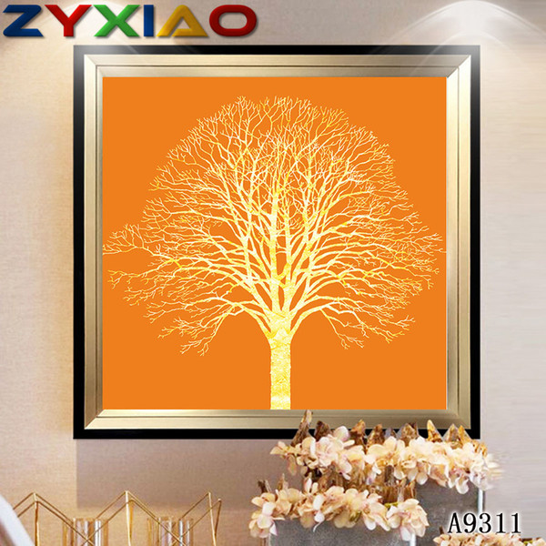 ZYXIAO Big Size Oil Painting Art flower gold tree Home Decor on Canvas Modern Wall Art No Frame Print Poster picture A9311