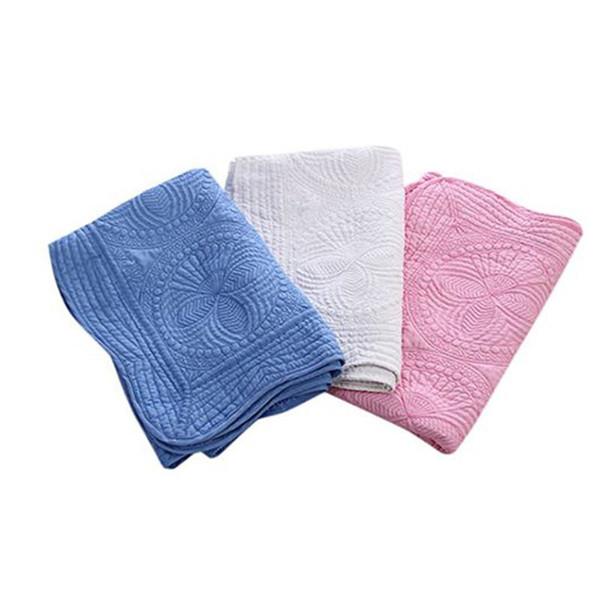 Couverture de coton nouveau-né brodé 36 * 46 pouces couette léger bébé couvertures tapis fleur portable facile nettoyer la maison en plein air tapis DHL XD19893
