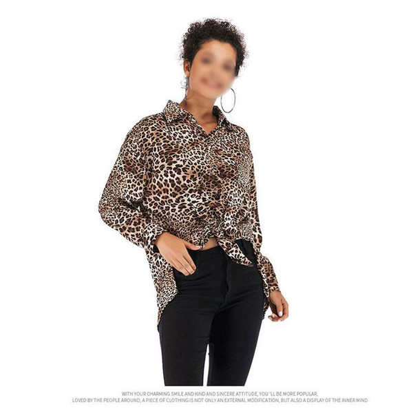 fdc9b3f1895e33 ISHINE Plus Size Leopar Casual Chiffon Leopard Blouse Shirt Women Winter Sexy  Loose Long Sleeve Office