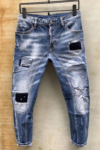 European standing men's jeans, men's jeans, a pair of skinny jeans and black embroidered skulls#0127