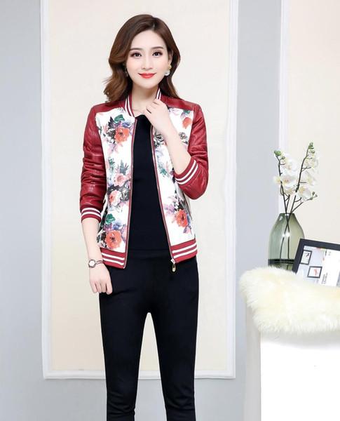 Mulheres Primavera Outono Casual Faux Leather Zipper manga comprida Casaco Jacket N02