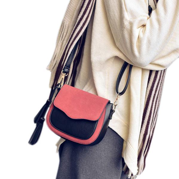 Frauen Weibliche Vintage Klappe Einfarbig Handtasche Schultertasche Damen Quaste Pu Leder Messenger Crossbody Taschen Beliebte gute qualität