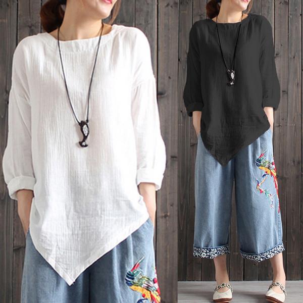 Celmia Women Vintage Cotton Linen Blouses Autumn Long Sleeve Plus Size Shirts Asymmetric Tops Casual Loose Camisa Feminina Q190507