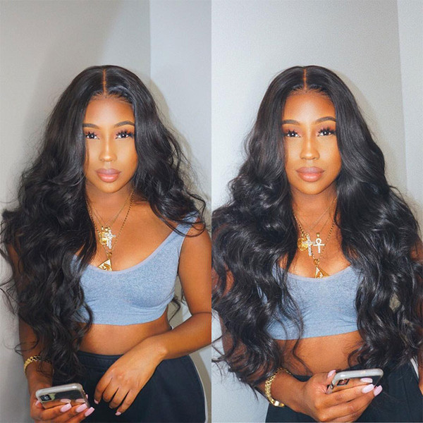 Densidad 250 pelucas de cabello humano Pre desplumados llenas del cordón para las mujeres Negro brasileña transparente de encaje completa la onda del cuerpo de la peluca siempre Remy de belleza