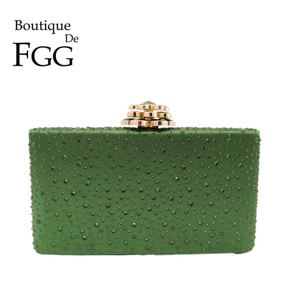 Boutique De FGG Green Crystal Women Metal Clutches Box Evening Bag Flower Clasp Wedding Party Purses and Handbags